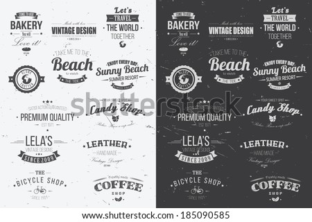 Collection of vintage retro insignia, badges, stamps, ribbons and typographic design elements, vector illustration - stock vector