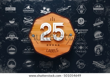 Collection of vintage retro labels, stamps and badges. Vector Illustration