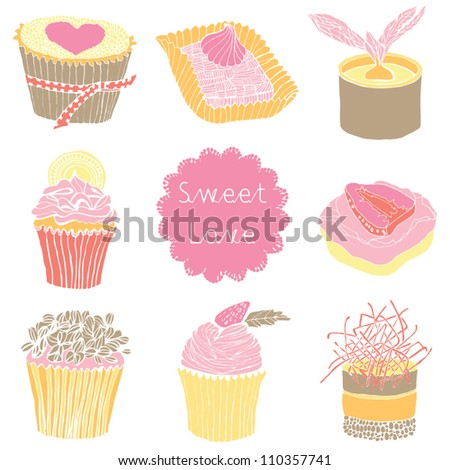 Collection of vintage retro various cupcakes