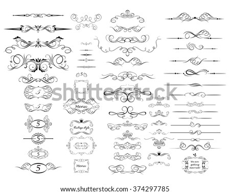 Collection of vintage rulers and dividers - stock vector