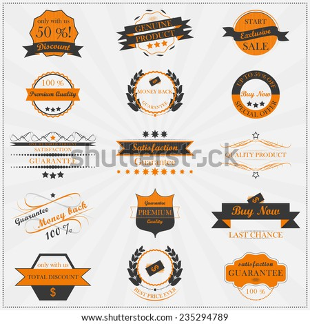 Collection of vintage sales labels and badges, vector illustration - stock vector