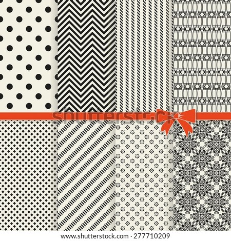 collection of 8 vintage seamless abstract patterns in black and beige - stock vector