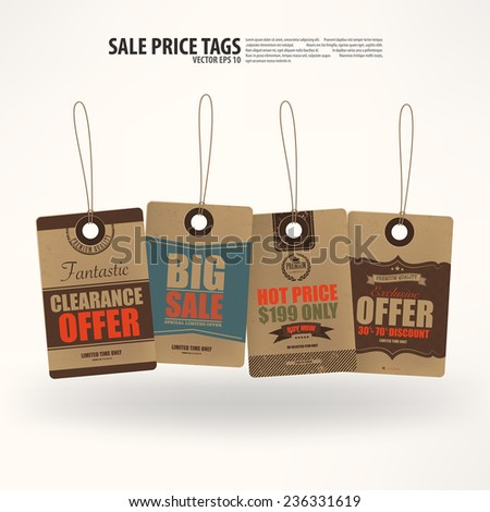 Collection of 4 Vintage Style Price Tags,Vector EPS10. - stock vector