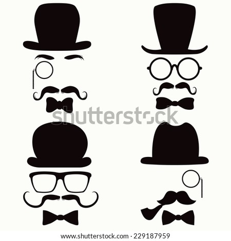 Collection of vintage style silhouette people heads with hats, mustaches, monocles, glasses and ties - stock vector