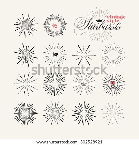 Collection of vintage style starburst hand drawn elements, Vector sunburst design elements and icons for badges and stickers.     - stock vector