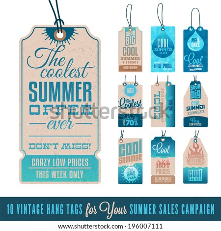Collection of 10 Vintage Summer Sales Related Hang Tags - stock vector