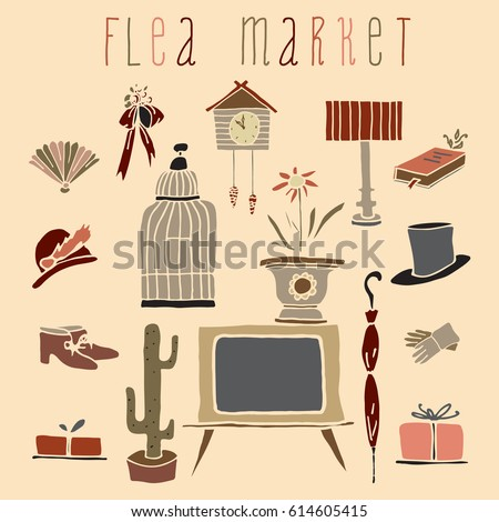 Collection Of Vintage Things Hand Drawn In Vector. Lovely Pattern For  Decoration Flea Market Signboard