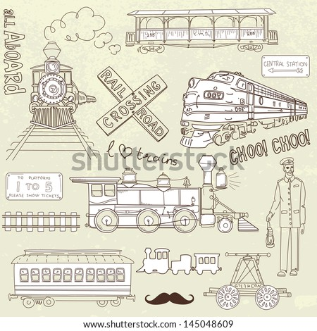 Collection of vintage trains and railroad doodles - stock vector