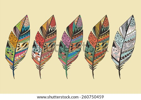 Collection of vintage tribal ethnic hand drawn colorful feathers, vector illustration - stock vector