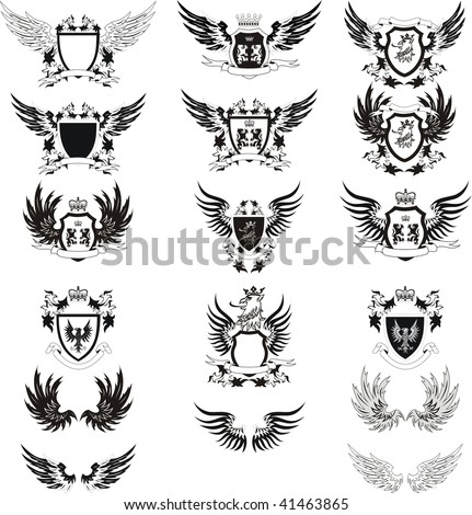 Collection of vintage vector coat of arms - stock vector