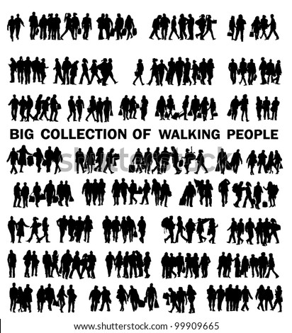collection of walking people - stock vector