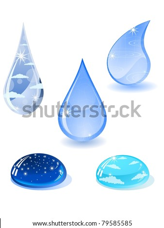 collection of water droplets. vector - stock vector