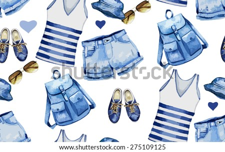 Collection of watercolor  casual denim clothes. Sunglasses, gumshoes,backpack,shirt, shorts,  panama. Vector pattern - stock vector