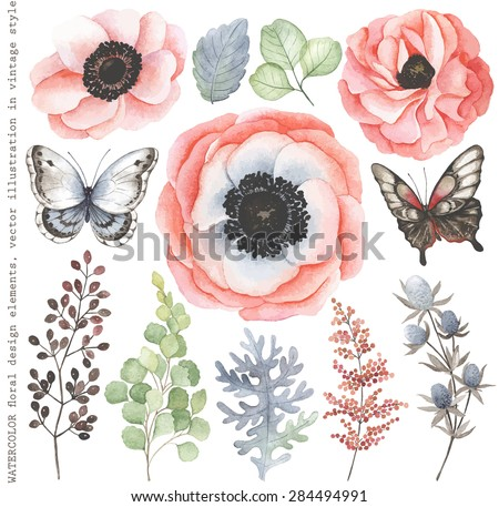 Collection of watercolor floral branches, flowers and butterflies in vintage style. - stock vector