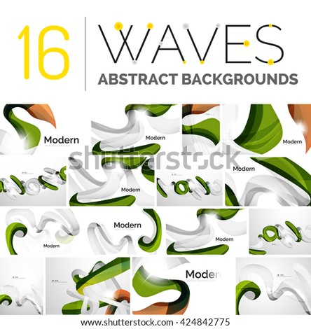 Collection of wave abstract backgrounds - color curve stripes and lines in various motion concepts and with light and shadow effects. Presentation banner and business card message design template set. - stock vector