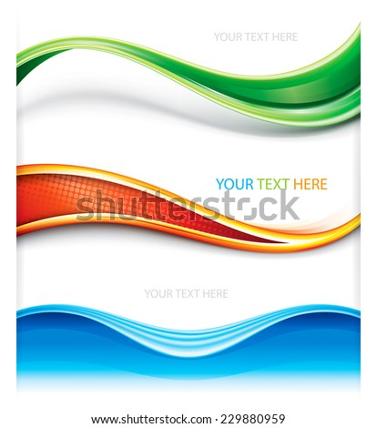 Collection of wave curve shape banner background. - stock vector