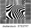 Collection of wavy zebra-like vector stripe patterns - stock vector