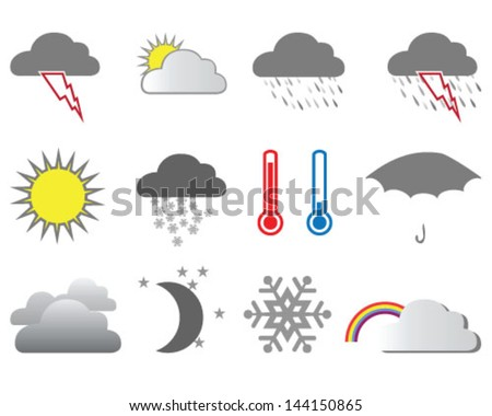 Collection of weather forecast icon-vector illustration - stock vector