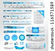 Collection of web elements, menu item, carousel, icons, ribbons, template for headers, footers,bar, side bar and so on. All in blue tones. - stock photo