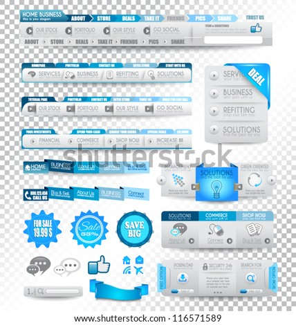 Collection of web elements, menu item, carousel, icons, ribbons, template for headers, footers,bar, side bar and so on. All in blue tones. - stock vector