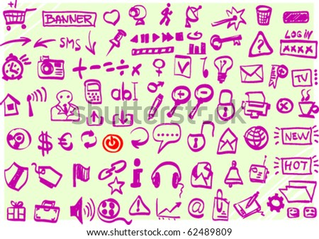 Collection of web icons in doodle style