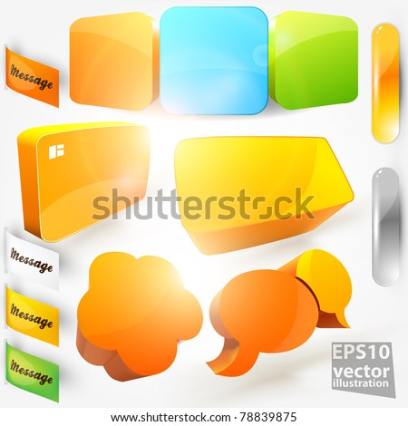 Collection Of Website Elements. Colorful stickers and frames for design. - stock vector