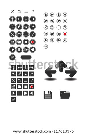 collection of website elements design developed player signs stop record etc - stock vector
