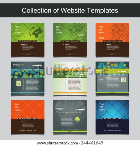Collection of Website Templates for Your Business - Nine Nice and Simple Design Templates with Different Patterns and Header Designs - stock vector