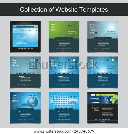 Collection of Website Templates for Your Business - Nine Nice and Simple Design Templates with Different Patterns and Header Designs - Business, Blue, Corporate Identity - stock vector