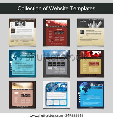 Collection of Website Templates for Your Business - Nine Nice and Simple Design Templates with Different Patterns and Header Designs - Business and Corporate Identity - stock vector