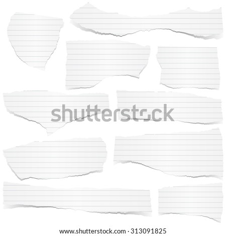 collection of white lined scraps of papers with shadows - stock vector