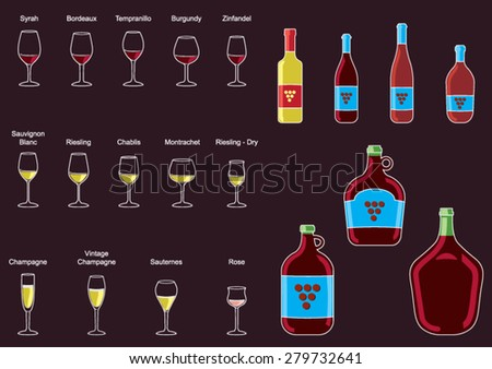 Collection of  Wine Bottle and Wine Glass -Vector Image - stock vector