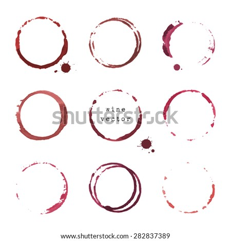 Collection of wine round stains and blots on white background