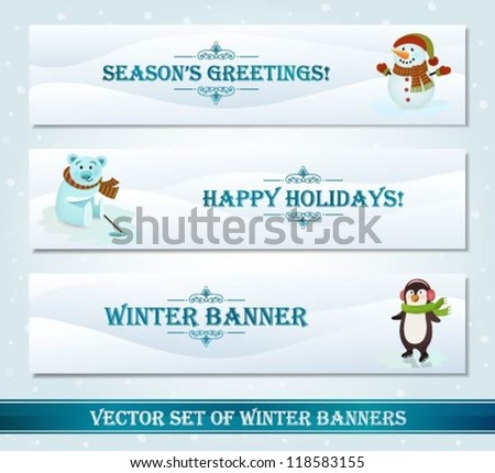 Collection of winter banners - stock vector