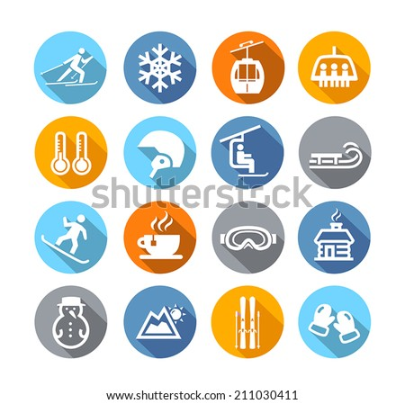 Collection of winter icons representing skiing and other winter outdoor activities in flat design style - stock vector