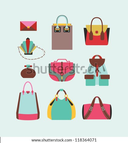 collection of woman bags for day and evening illustration eps 10 - stock vector