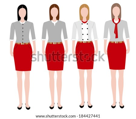 collection of woman in uniform design  - stock vector