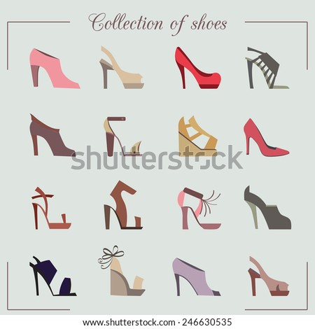collection of women's shoes  - stock vector