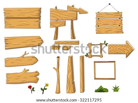 collection of wooden sign and signboard - stock vector