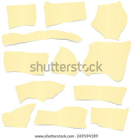 collection of yellow colored scraps of papers with shadows - stock vector