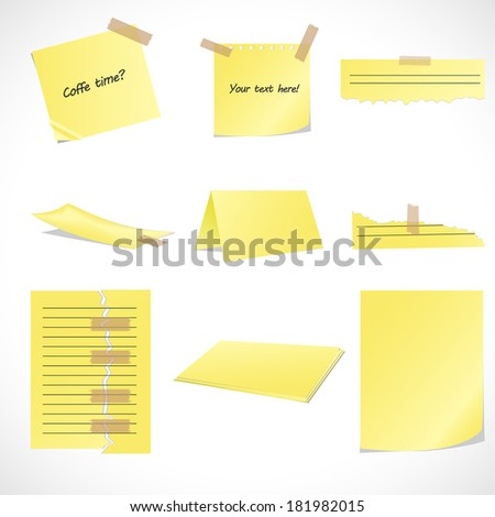 Collection of yelow papers. - stock vector