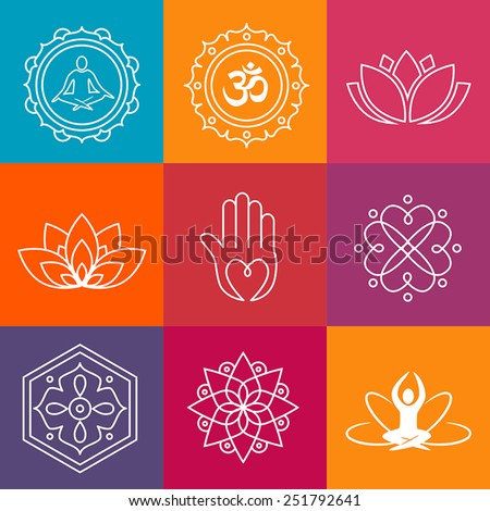 Collection of yoga icons and relaxation symbols. - stock vector