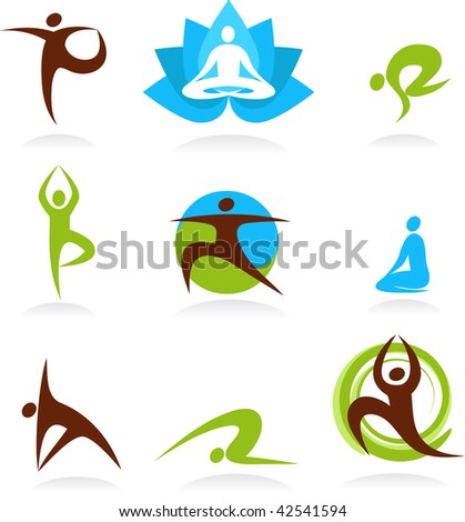 collection of yoga people, vector icons - stock vector