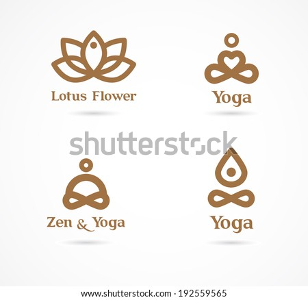 Collection of yoga, zen, meditation icons, colorful elements and symbols - stock vector