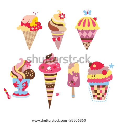 Collection of yummy ice creams with various shapes and flavors. - stock vector