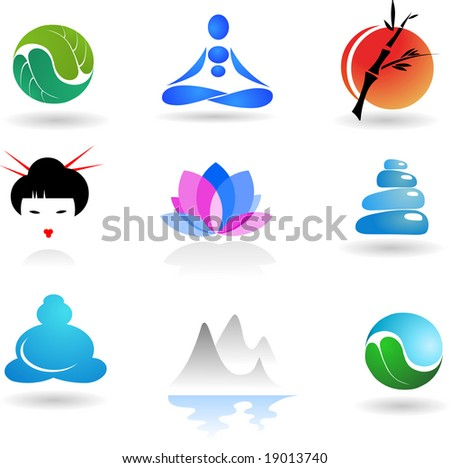 collection of Zen icons - vector illustration - stock vector