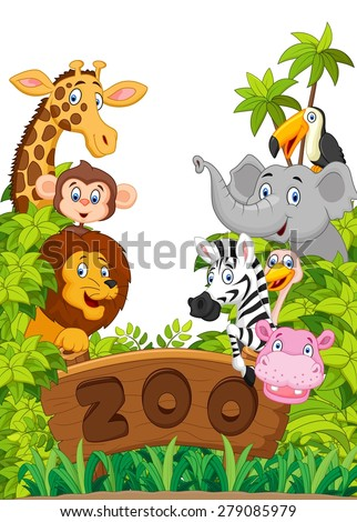 Collection of zoo animals - stock vector