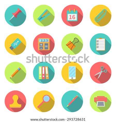 Collection office supplies. set color icons with long shadow. stationery set symbol and object. Flat design modern, for web and mobile applications, of office work. Isolated white background  - stock vector