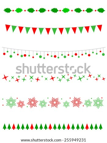 Collection on christmas borders / divider graphics including holly border, bulbs / lights pattern, christmas trees snow and stars - stock vector