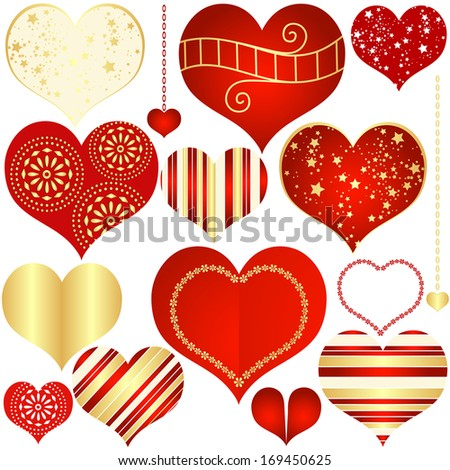 Collection red and gold isolated vintage hearts (vector)